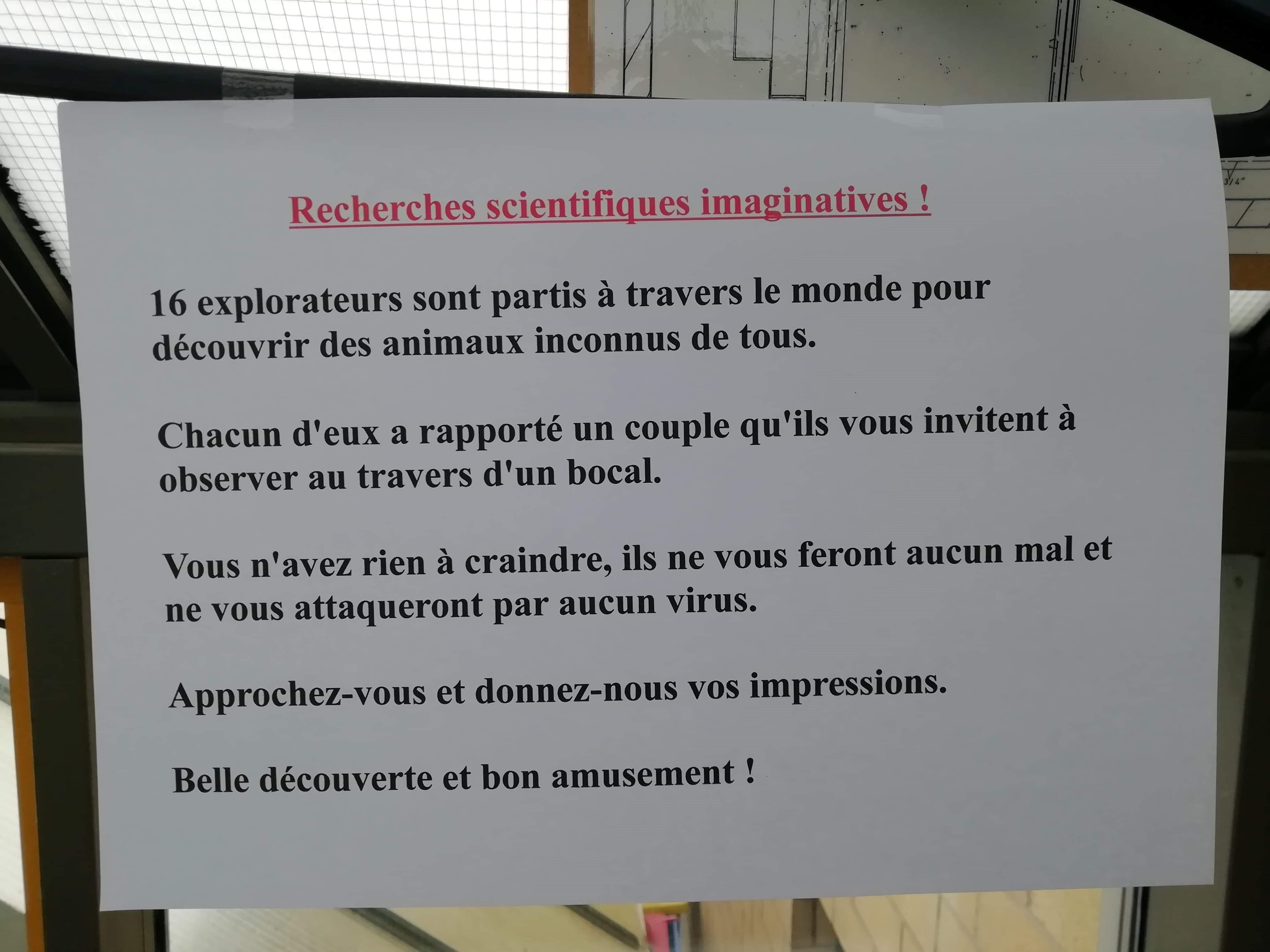 Recherches scientifiques imaginatives 1