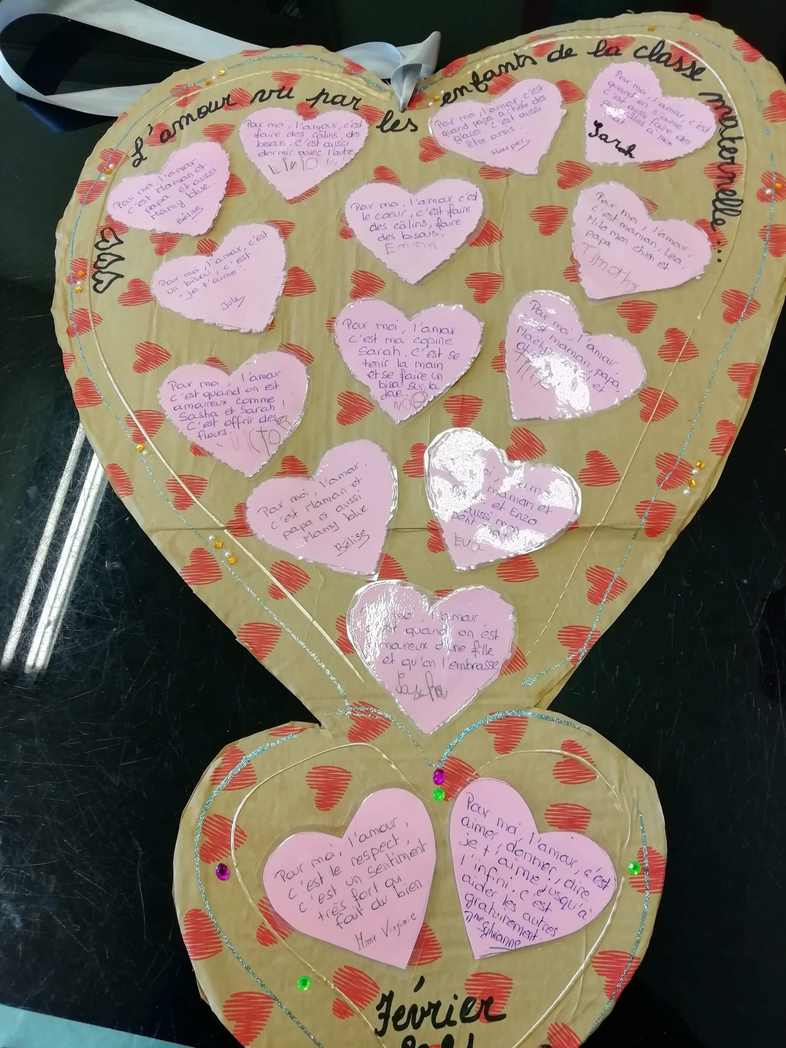 Coeur avec la photo des élèves déguisés pour les résidents